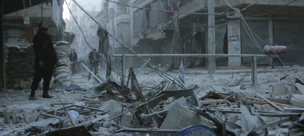 Effects of a Barrel Bomb in Aleppo, Syria