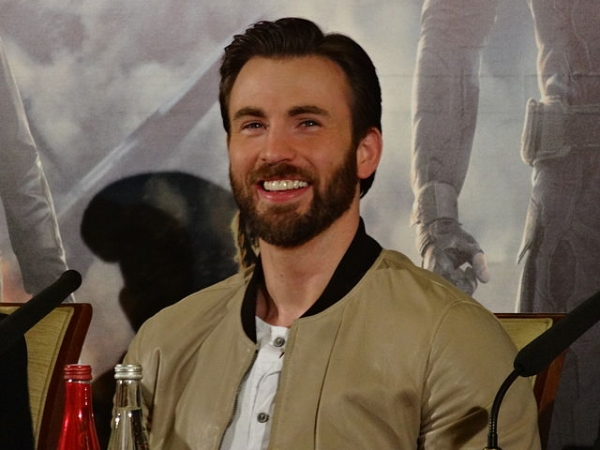 Chris Evans at a press conference for 'Captain America: The Winter Soldier'