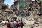 Debris after quake in Nepal