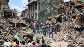 Debris after quake in Nepal