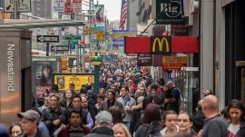 Pedestrians on New York City's 6th Avenue