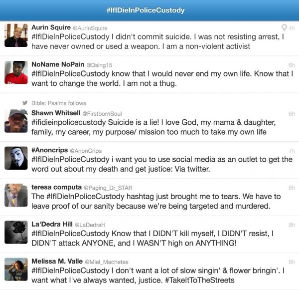 Screenshot of #IfIDieInPoliceCustody Photos