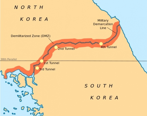 Map of Korea Demilitarized Zone