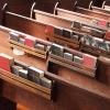 Church pews hymnal Bible