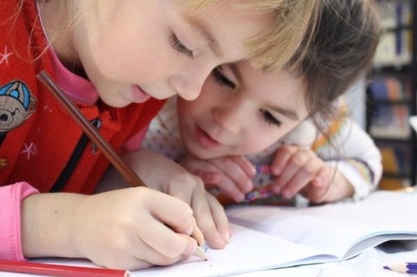Children girls study school