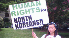 A demonstrator for human rights forNorth Korea in China