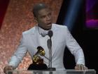Gospel singer Kirk Franklin gives an acceptance speech at the 2020 Grammy Awards show, Jan. 27, 2020.