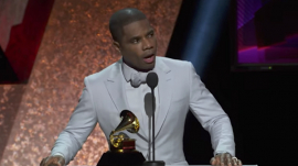 Gospel singer Kirk Franklin gives an acceptance speech at the 2020 Grammy Awards show, Jan. 27, 2020.