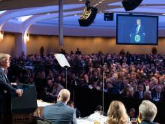 "U.S. President Donald Trump spoke at the ""2020 National Breakfast Prayer "" held in Washington D.C on Feb. 6, 2020."
