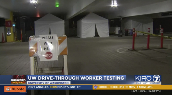 Drive-Through coronavirus testing set up in Seattle