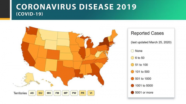 As of March 25, 41 U.S. states and 1 U.S. territory report some community spread of coronavirus (COVID-19)@CDC Facebook