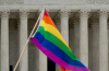 PRIDE flag waving in front of the Supreme Court