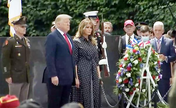 President Trump and First Lady Melania Trump lay wreath at Korean War Memorial