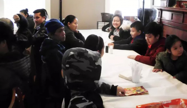 Christian refugees from Myanmar fellowship at a church in Massachusetts.