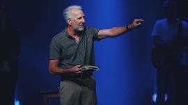 Pastor Greg Fairrington giving a sermon at his church, Destiny Christian Church.