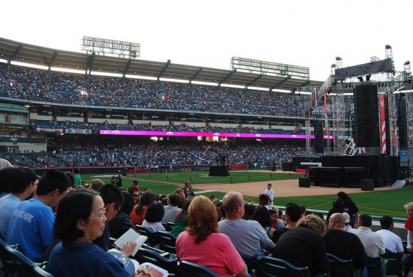 Harvest Crusade being held in the Angel Stadium in Anaheim, Southern California