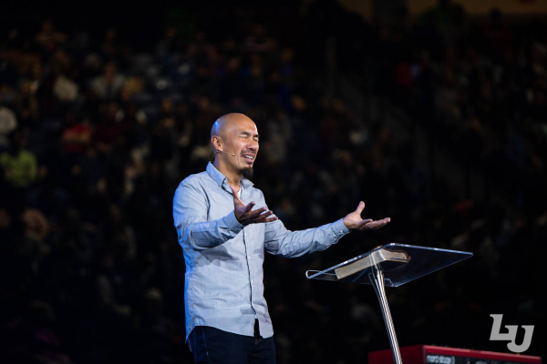 Francis Chan speaks in convocation on February 6, 2019.