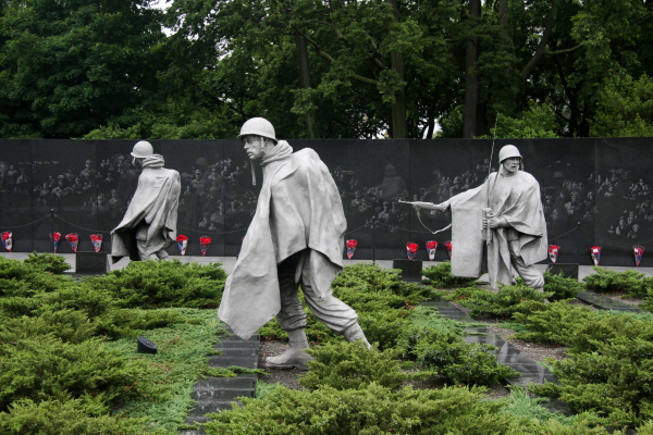 Statues of U.S. soldiers at the Korean War Veterans Memorial