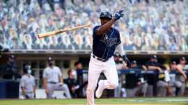 Randy Arozarena of Tampa Bay Rays seen throwing his bat