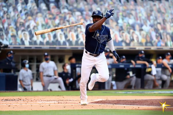 Randy Arozarena of Tampa Bay Rays seen throwing his bat