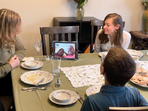 Family having a virtual dinner