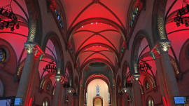 Philippines' Manila Cathedral with red lights for 'Red Wednesday.""