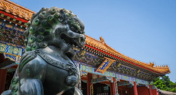 Chinese dog statue in Beijing