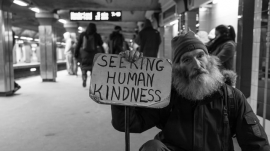 Man waiting for someone to show kindness
