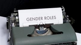 """""""gender roles"""" typewritten on paper"""