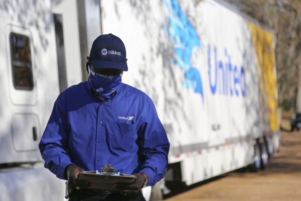 A United Van Lines mover at work