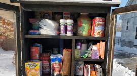 A photo of Stonebridge Christian Church's pantry for the needy.