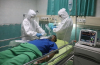 Simulated COVID-19 patient treatment at hospital
