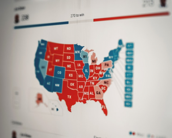 American states during an election as shown on a screen