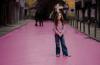 Girl on Pink Street Lisbon