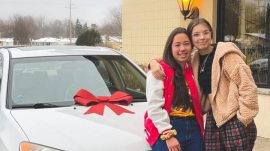 Chick Fil-A employees Hokule'a Taniguchi and Hailey Bridges