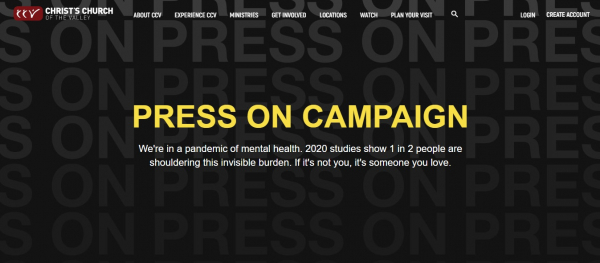 A screenshot of the Press On Campaign website by CCV.