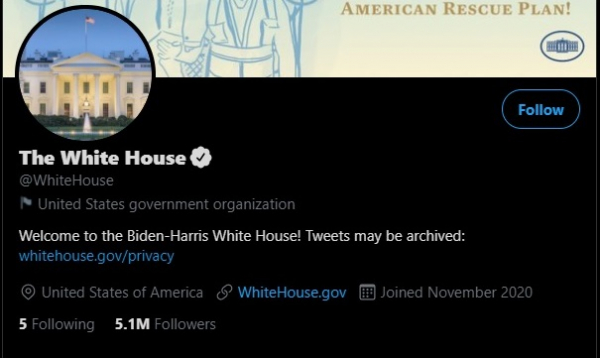 A screengrab of the White House Twitter account