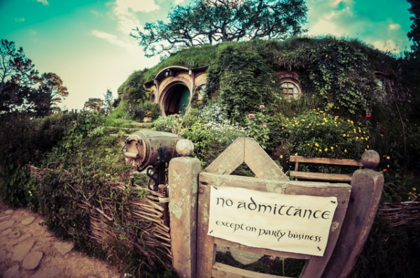 """Hobbiton movie set for """"The Lord Of The Rings"""""""