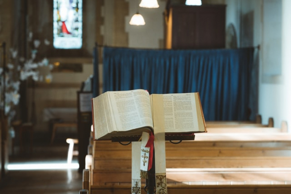 Bible on lectern in Catholic church or chapel