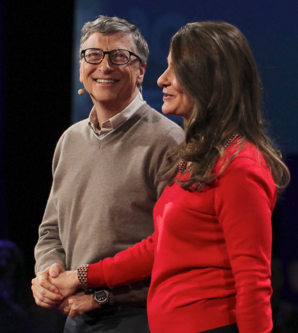 Happy Holding Hands — Bill & Melinda Gates Give it Away Now