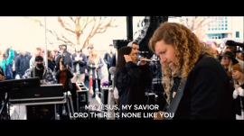 """Sean Feucht and Melody Noel singing the timeless worship song """"Shout to the Lord"""" by Darlene Zschech"""