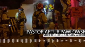 Firefighters responding to reports of Pastor Artur Pawlowski's garage on fire