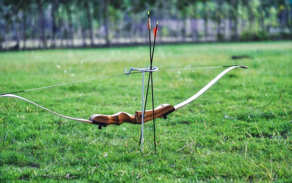 bow with arrows pinned to the ground