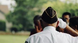veteran doing a hand salute