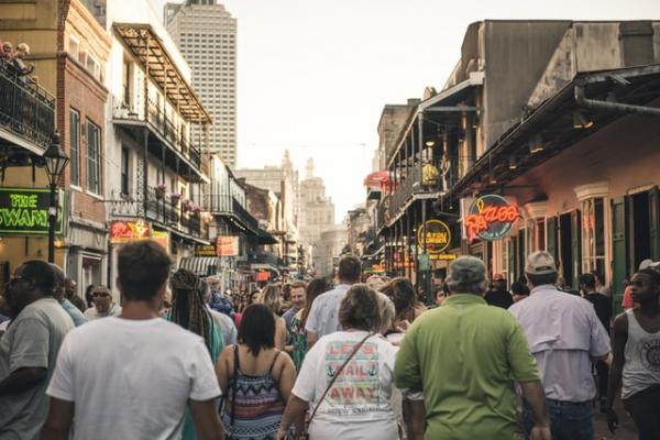 people walking ona  busy street in America
