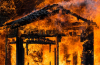 burning structure building house church shed hall barn room