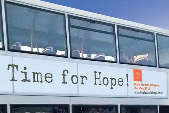 """Promotional ad for the """"Lancashire Festival of Hope"""" in 2018"""