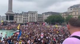Londoners protesting the U.K.'s vaccine passports