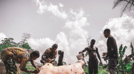 Nigerians standing near an animal