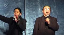 Preacher Yang (left) and Pastor Wang